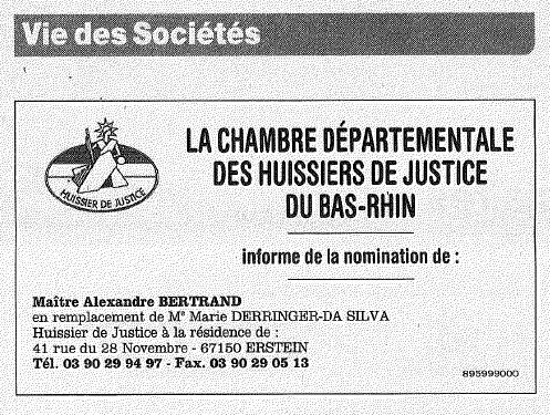 Annonce légale publiée par la Chambre Départementale des Huissiers de Justice du Bas-Rhin